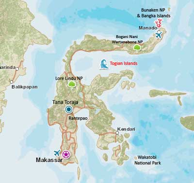 Map of Togian Islands, Sulawesi, Indonesia