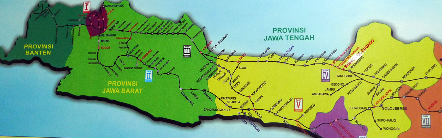 Indonesia West and Central Java Train Rail Map
