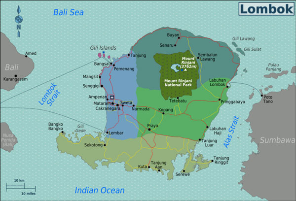 Travel Map of Lombok, Indonesia