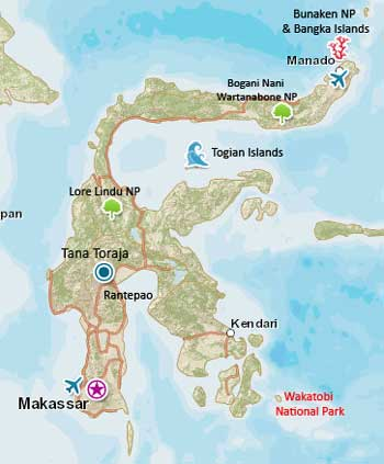Map of Wakatobi, Sulawesi Indonesia